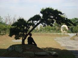 A student meditating during a retreat at Tiannan Temple (天南寺)