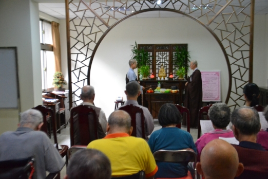 Recitation of the Buddha's name (念佛) activity put up for the benefit of elders of a nearby retirement house