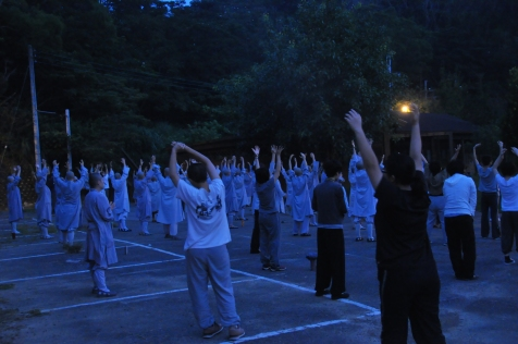 Morning exercise during a retreat