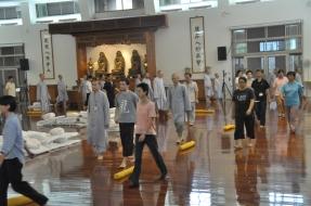 Walking meditation (經行) during a retreat