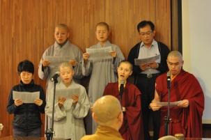 Chanting a Tibetan hymn
