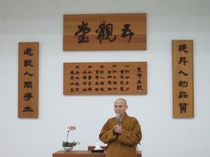 President Huimin (惠敏校長) giving a speech after the end of a retreat