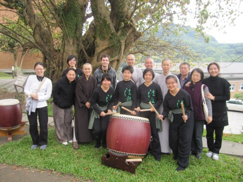 Members of the drumming clubs and their friends