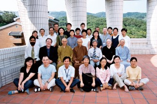 Early picture of Master Sheng Yen with faculty and students