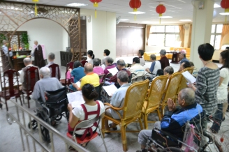 Reciting the Buddha's name practice session organized for the benefit of the elderly in a nearby retirement home